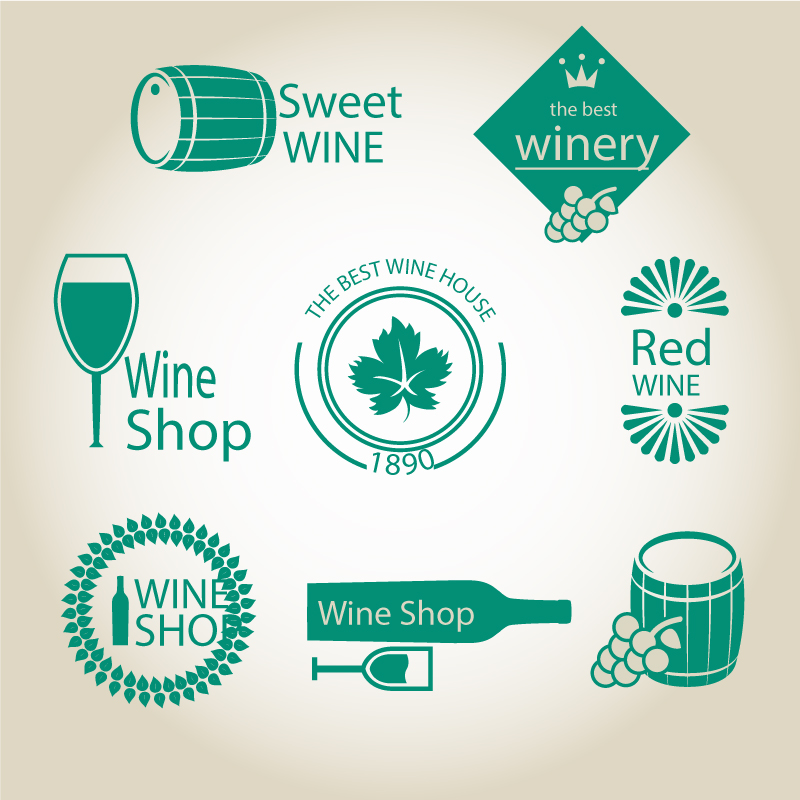 Green Wine Label Vector