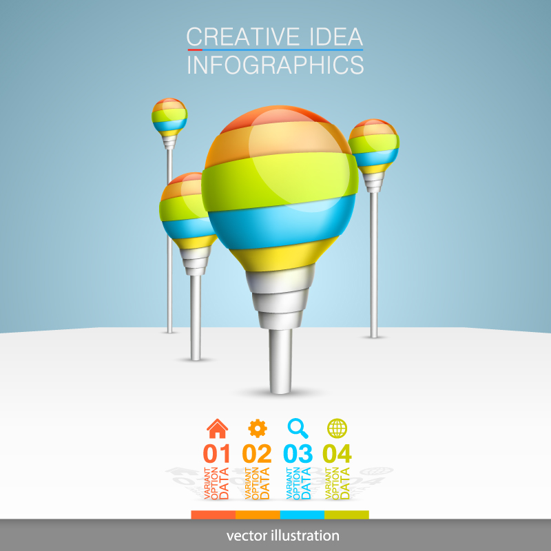 Infographics Colored Bulb Vector