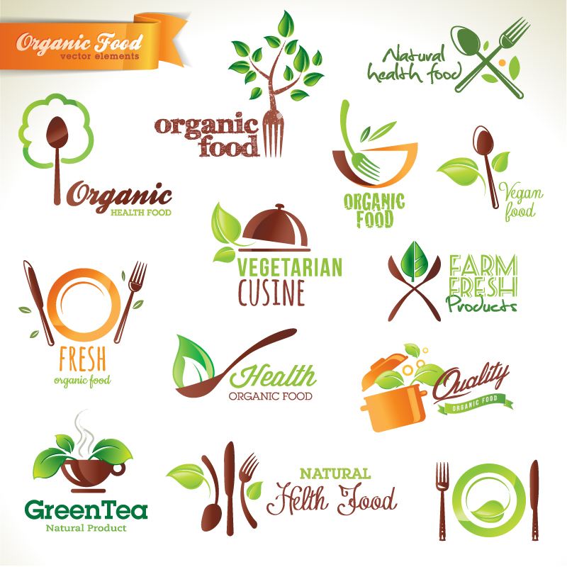 Organic Food Elements Vector