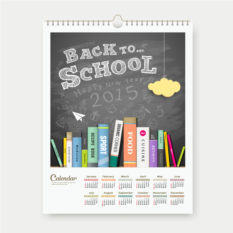 Calendar 2015 Back to School Vector
