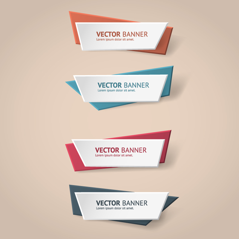 Color Origami Banner Vector