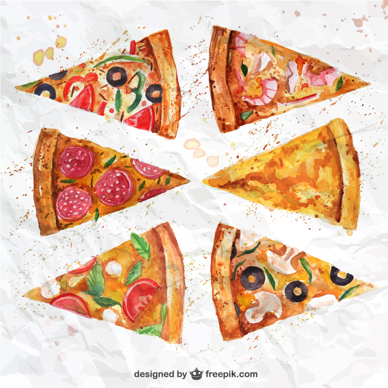 Hand Drawn Delicious Pizza Slice Vector
