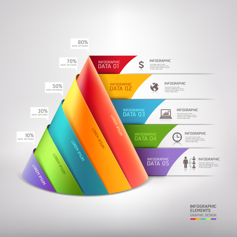 Infographic Data Origami Vector
