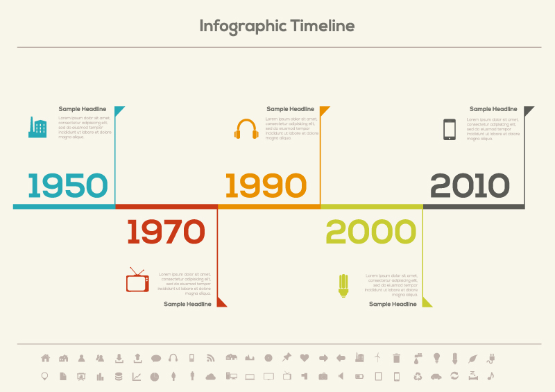 Infographic Timeline Icons Vector