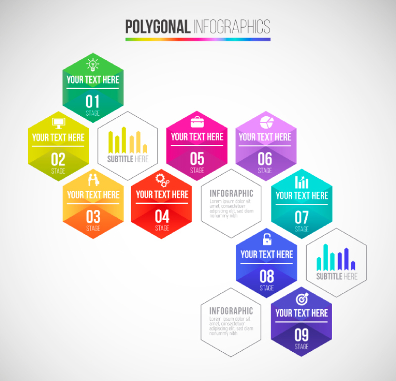 Polygonal Infographics Vector
