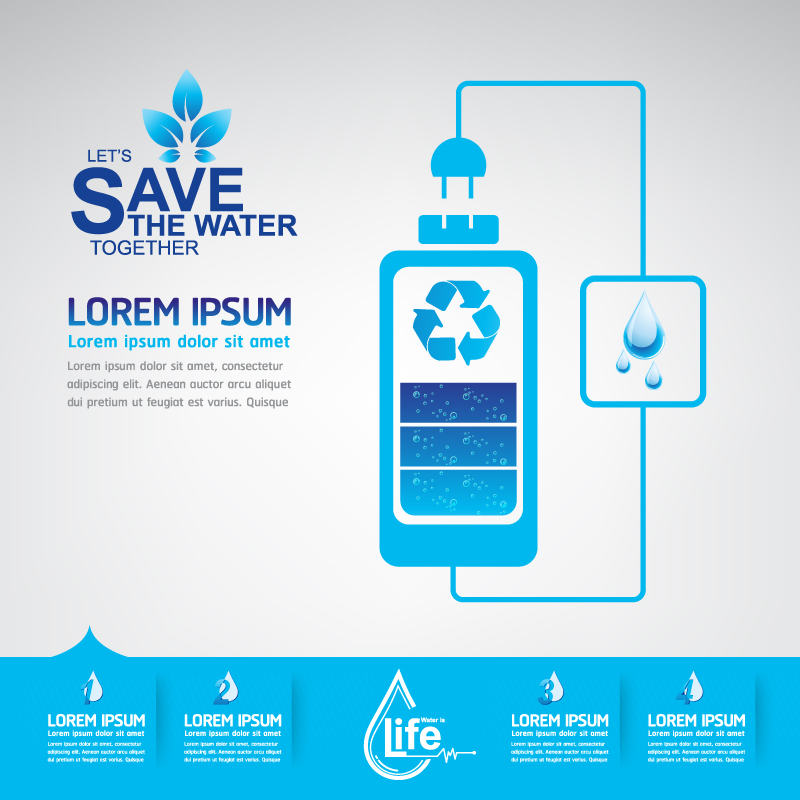 Save The Water Infographics Vector