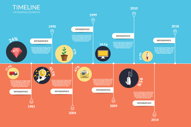 Timeline Infographic Blue Orange Vector