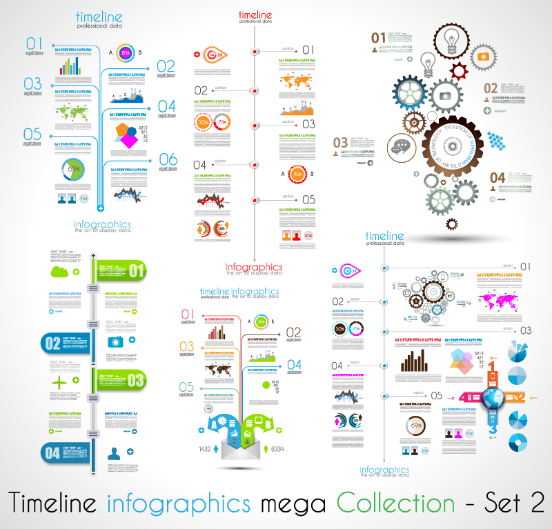 Timeline Infographic Mega Collection Vector