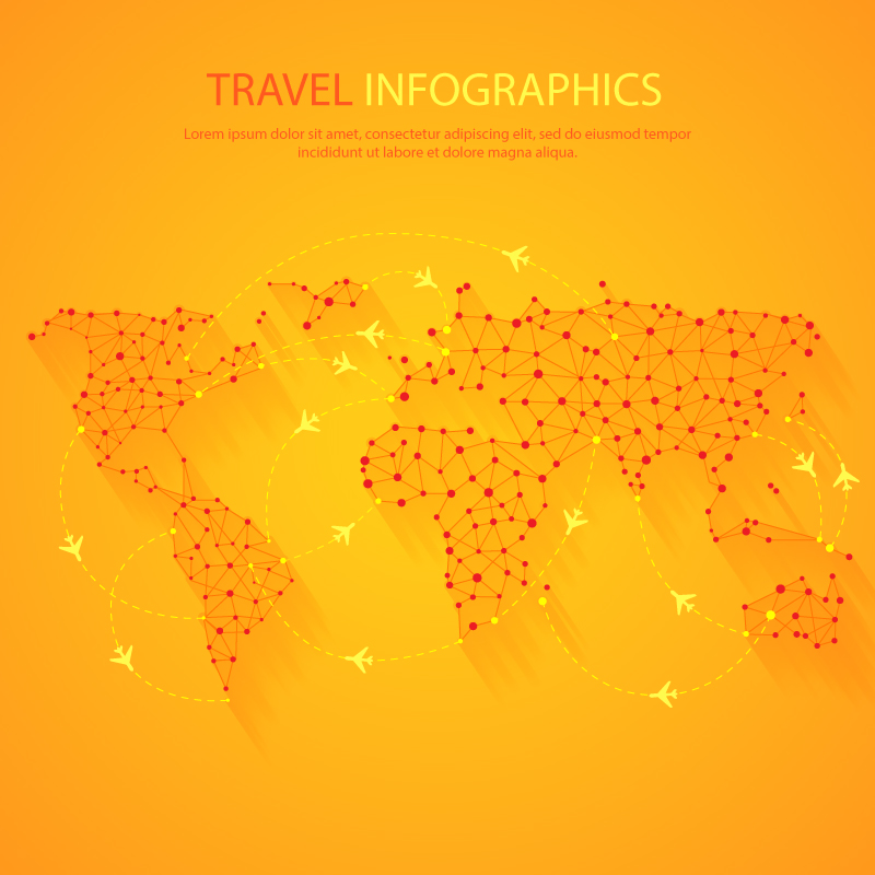 Travel Infographics World Map Vector