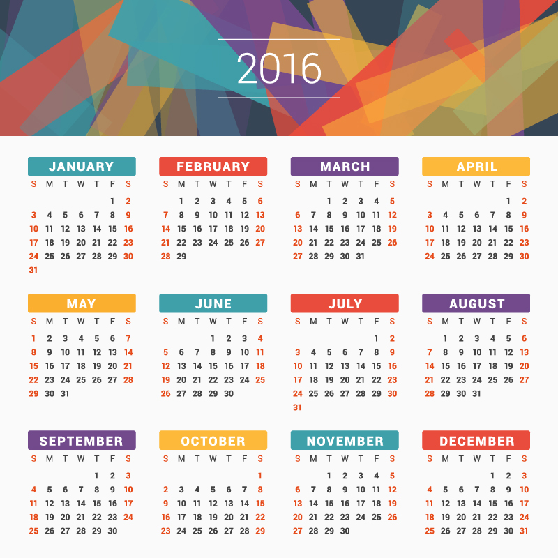 Abstract Card Design Calendar 2016 Vector