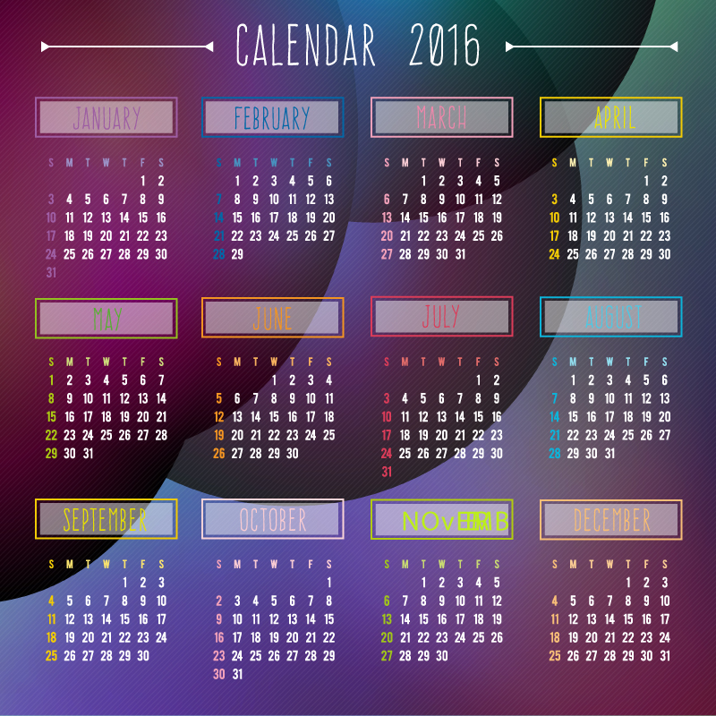 Calendar Background 2016 : Abstract colorful background calendar vector free