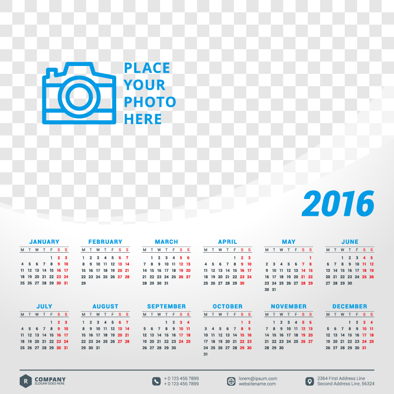 Abstract Creative Shape Calendar 2016 Vector