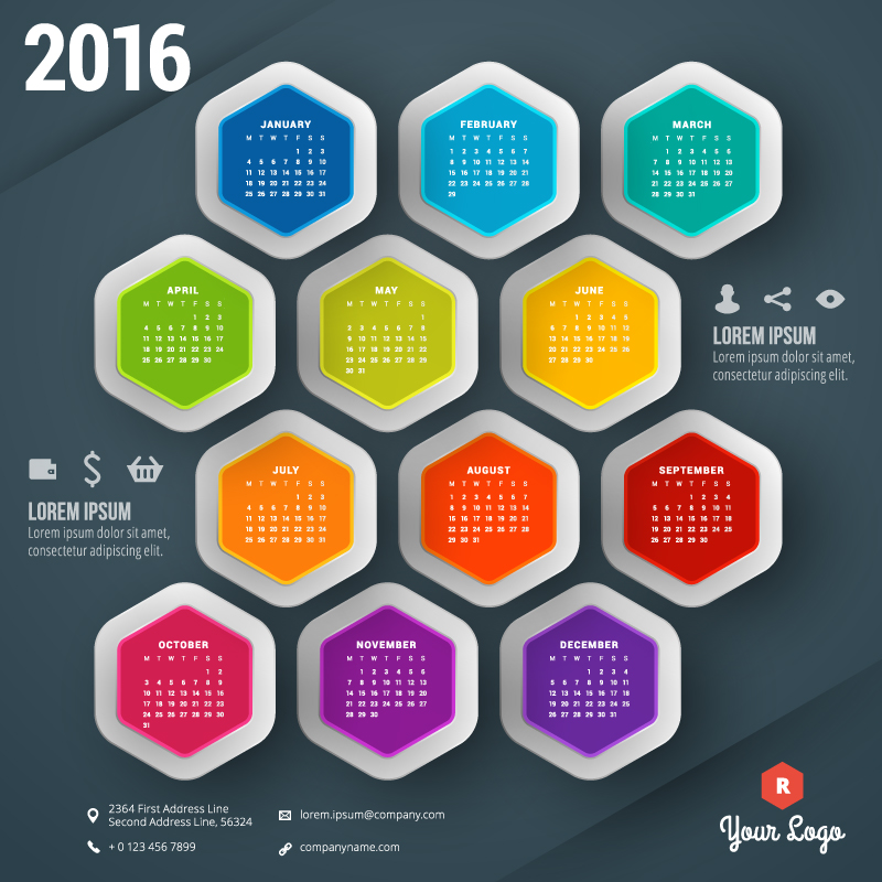 Abstract Hexagon Background Calendar 2016 Vector