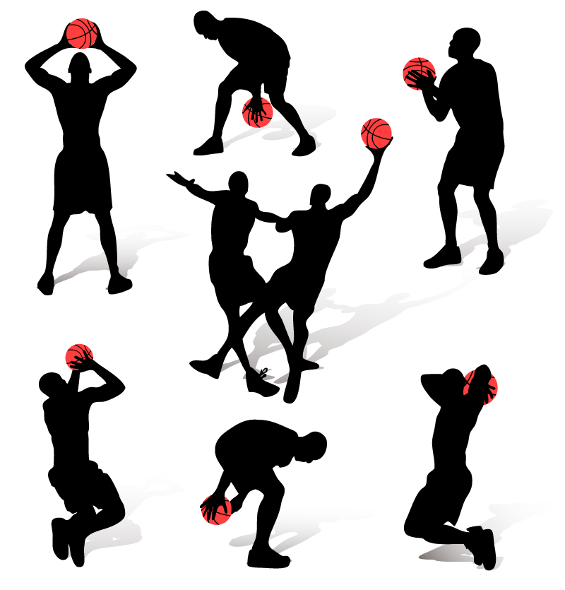 Basketball Action Figure Silhouette Vector