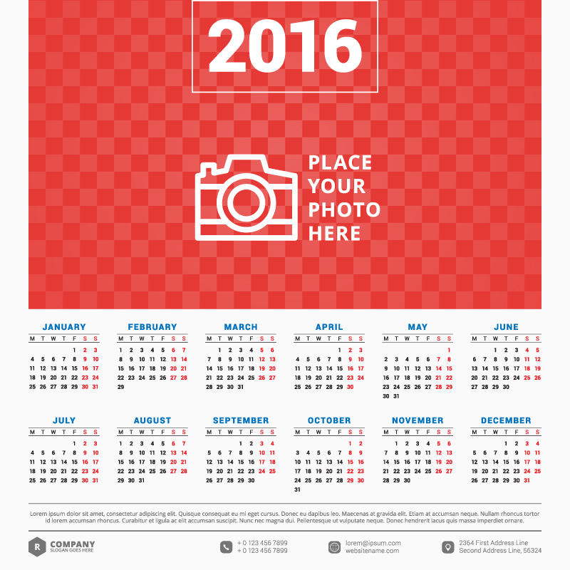 Big Banner Red Background Calendar 2016 Vector