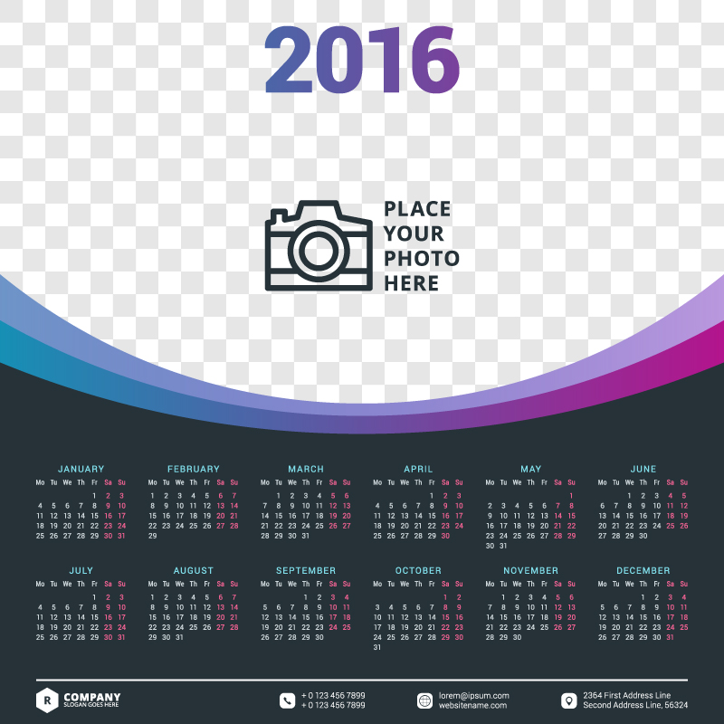 Calendar Design Vector Free Download : Big photo header calendar vector free