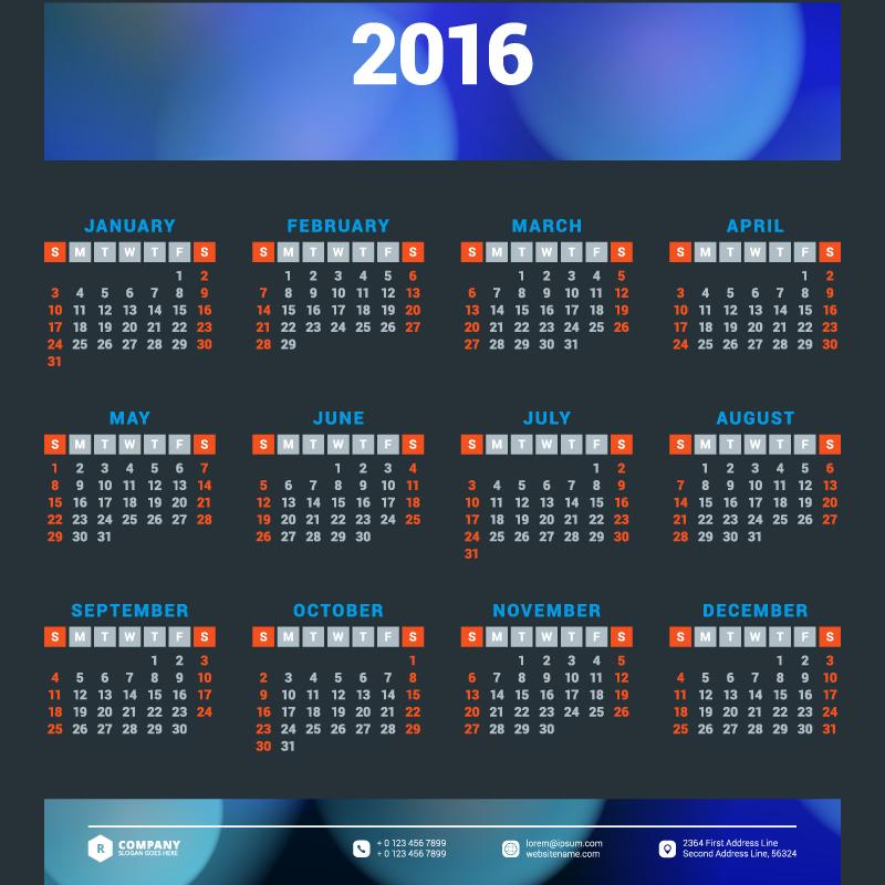 Blue Banner Calendar 2016 Vector