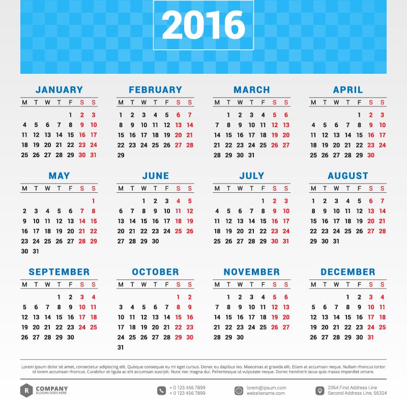 Calendar Typography : Blue banner typography calendar vector free