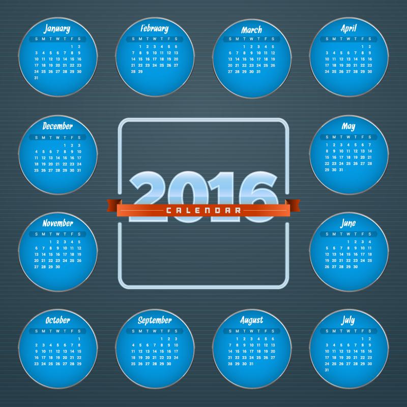 Blue Circle Month Block Calendar 2016 Vector