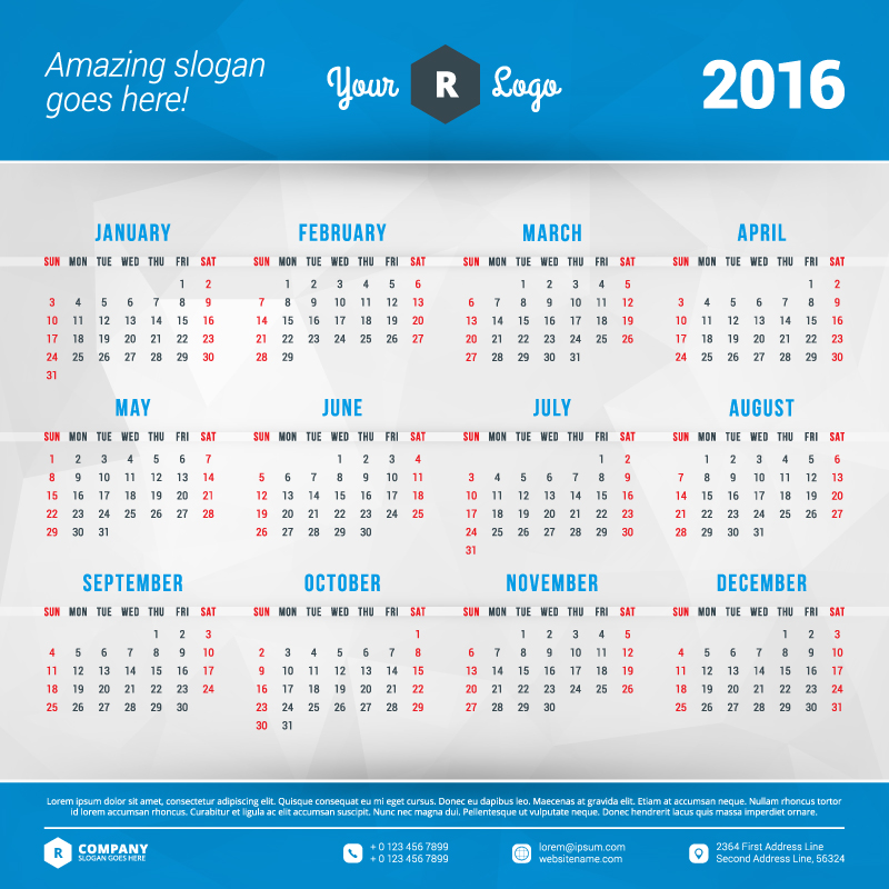 Blue Header Calendar 2016 Vector