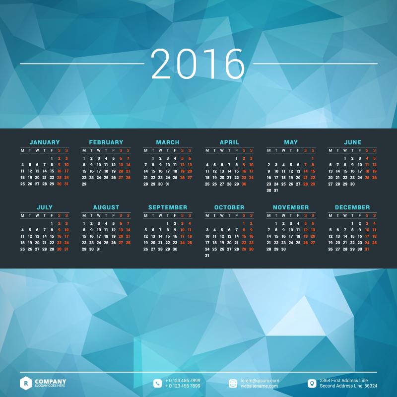 Blue Polygon Background Calendar 2016 Vector
