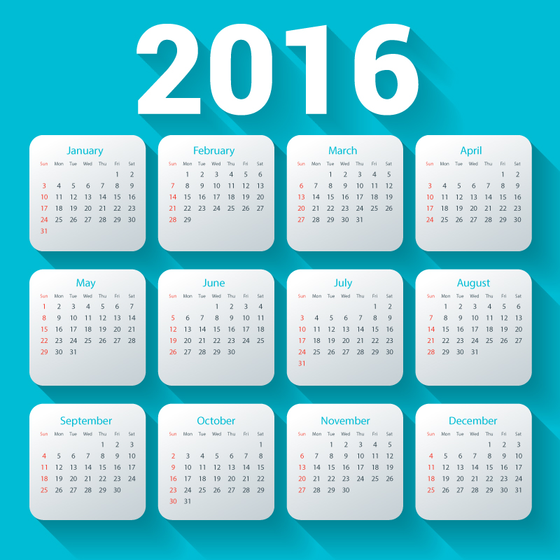 Blue Shadow Month Card Calendar 2016 Vector