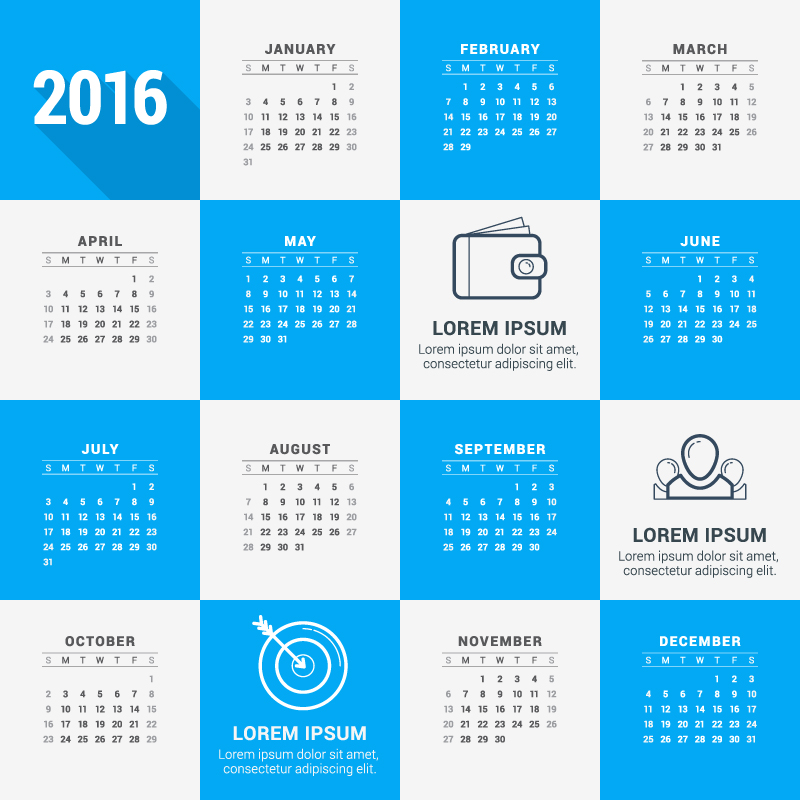 Blue and White Calendar 2016 Vector