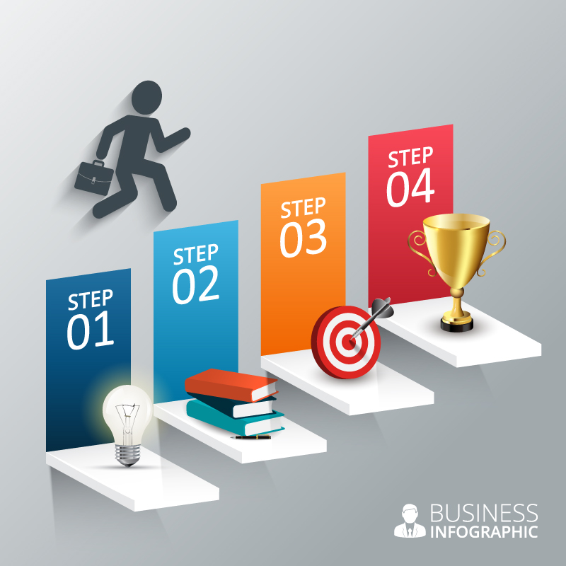 Business Man Step Infographic Vector