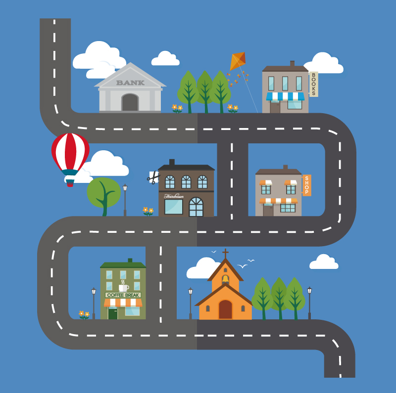 Cartoon Roads and Buildings Vector