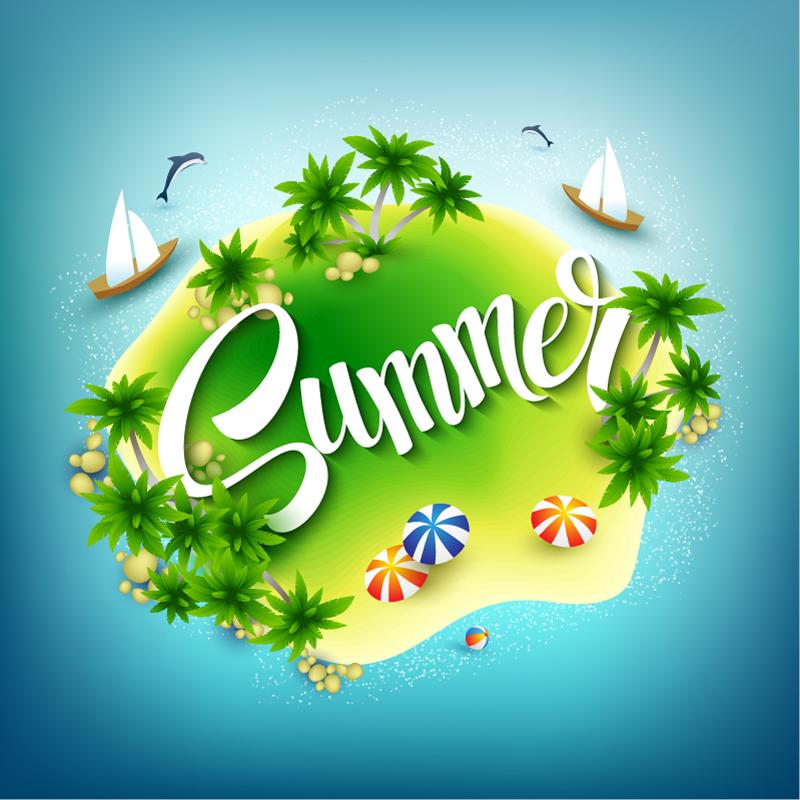 Cartoon Summer Island Vector
