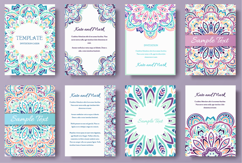 Color Pattern Invitation Card Vector