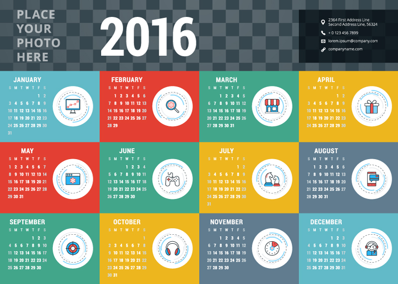 Colorful Image Calendar 2016 Vector