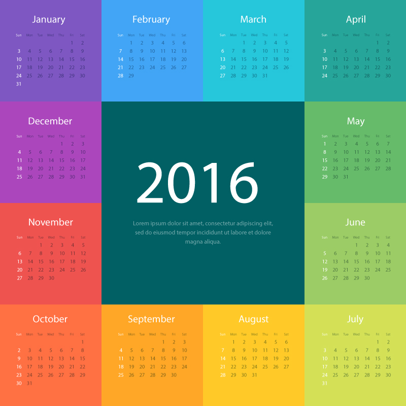 Colorful Typography Blocks Calendar 2016 Vector