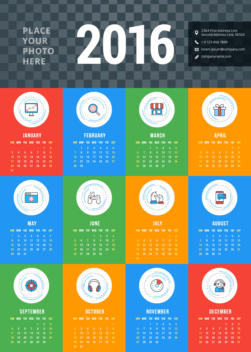 Corporate Calendar Design 2016 : Different business icons calendar vector free