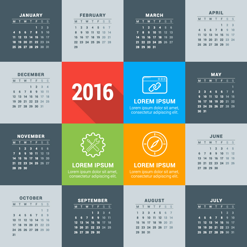 Gray Card Calendar 2016 Vector