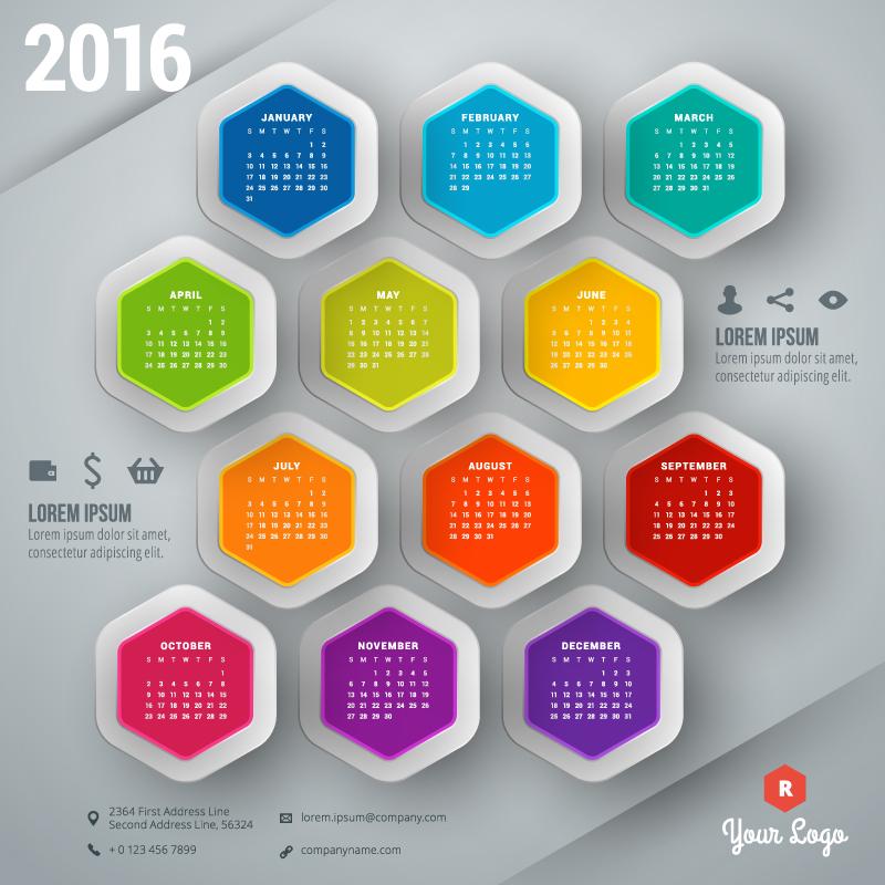 Hexagon Calendar 2016 Vector