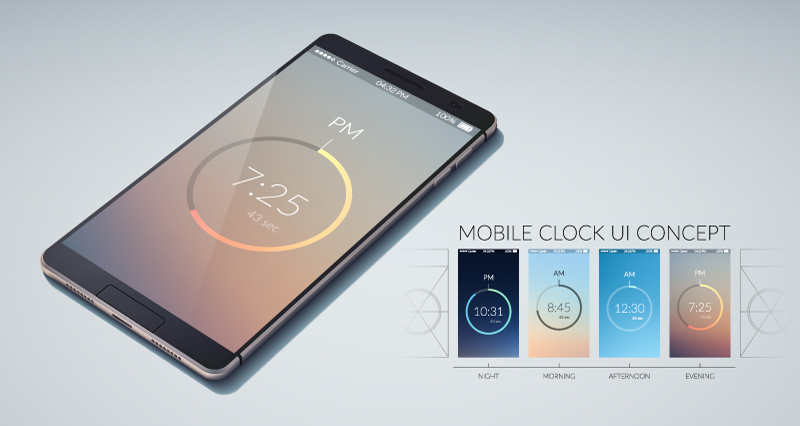 Mobile Clock UI Concept Vector