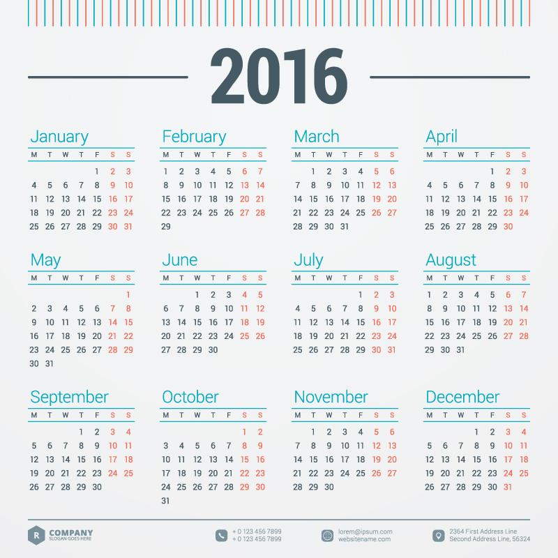 Monday Calendar 2016 Vector