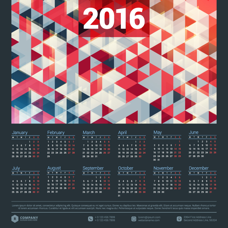 Mosaic Background Calendar 2016 Vector