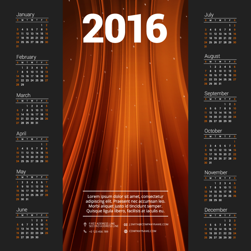 Orange Calendar 2016 Vector