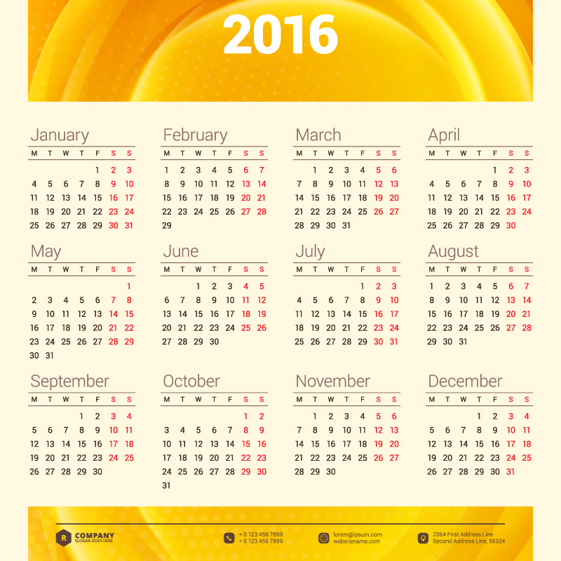 Orange Header Calendar 2016 Vector