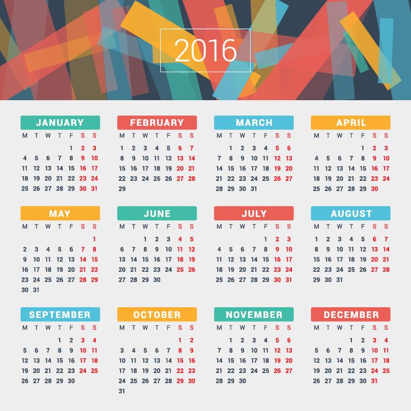 Paper Card Calendar 2016 Vector