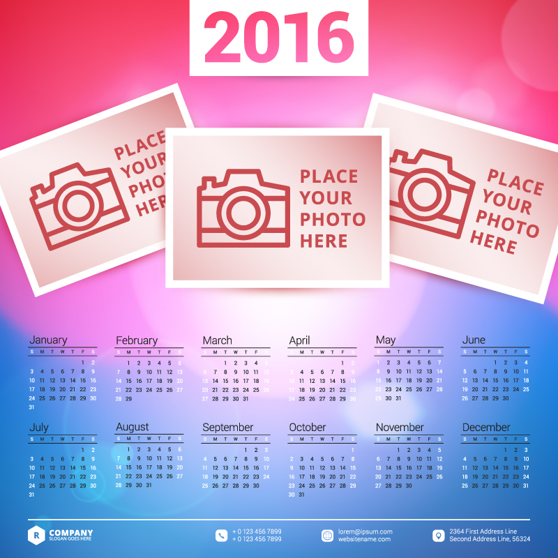Pink and Blue Background Calendar 2016 Vector