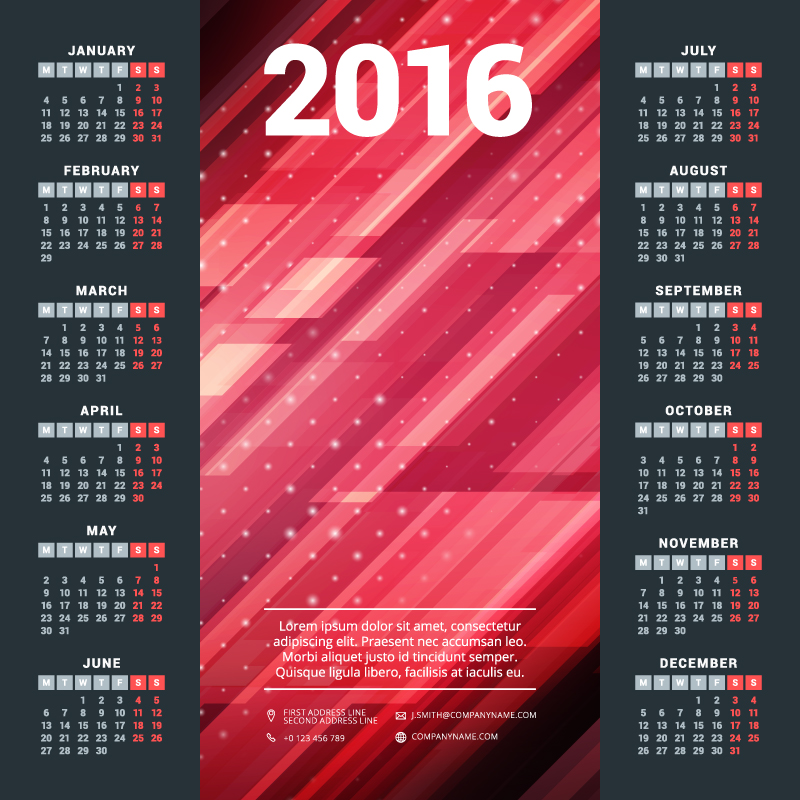 Red Digital Background Calendar 2016 Vector