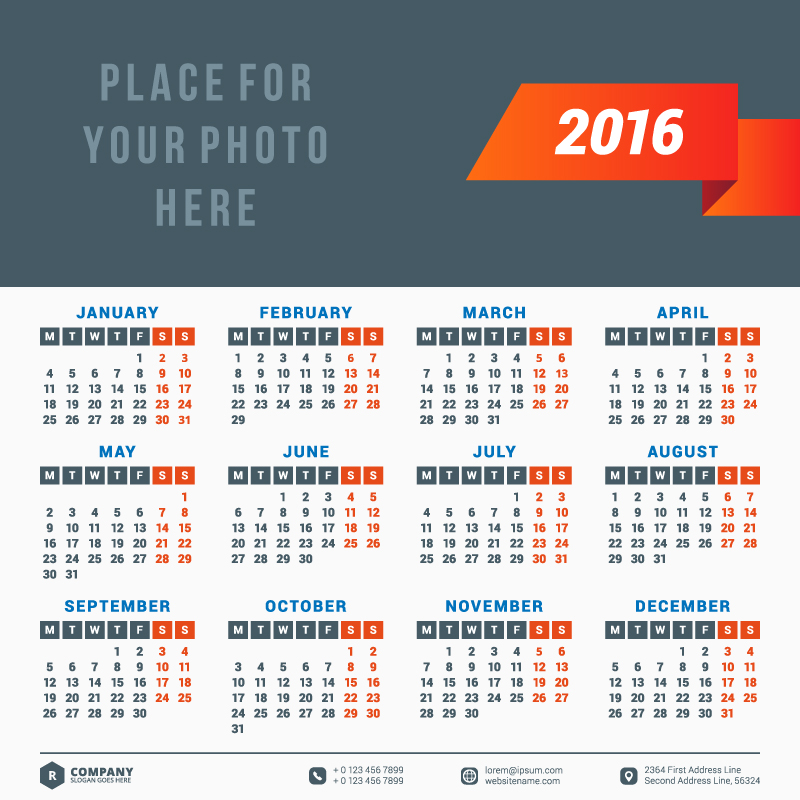 Red Ribbon Typography Calendar 2016 Vector