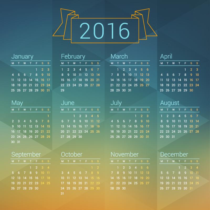Ribbon Banner Calendar 2016 Vector
