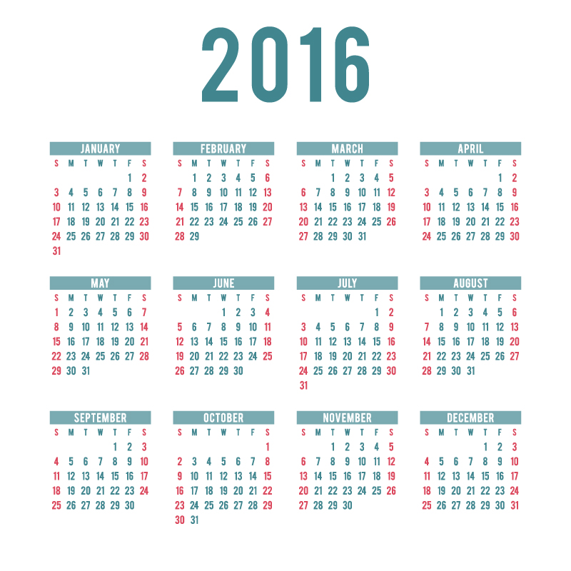 Simple Blue and Pink Calendar 2016 Vector