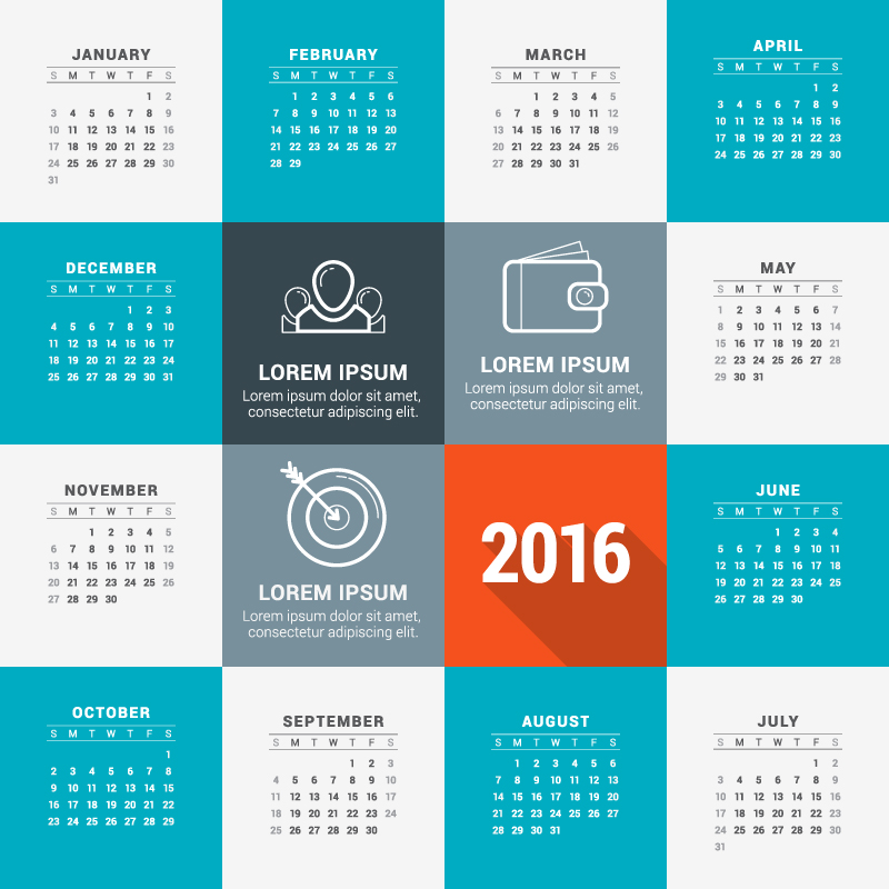 Template Card View Calendar 2016 Vector
