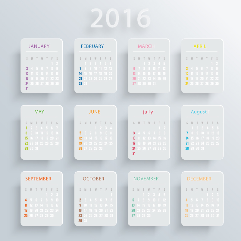 White Card Calendar 2016 Vector