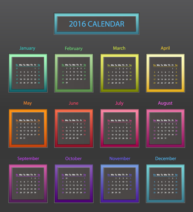 2016 Calendar Color Block Vector